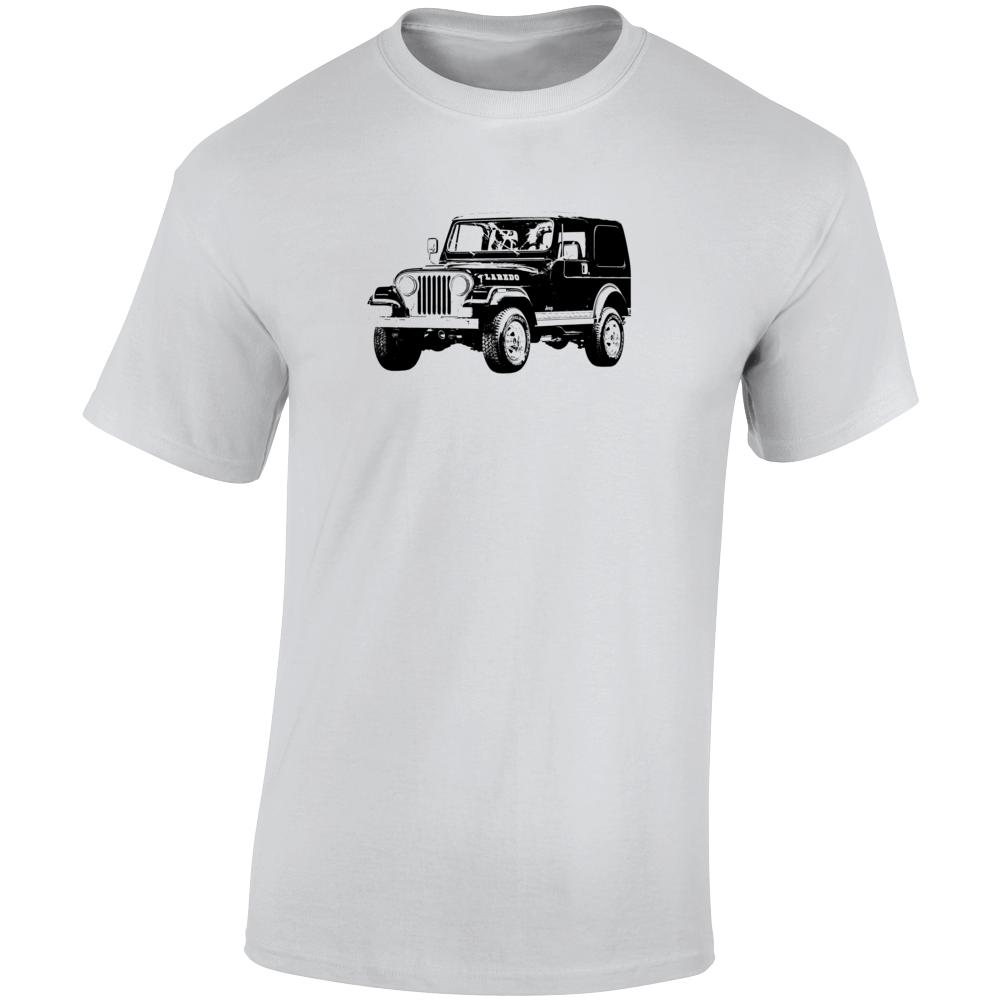 1981 Jeep Cj-7 Laredo Three Quarter Angle View Light Color T Shirt
