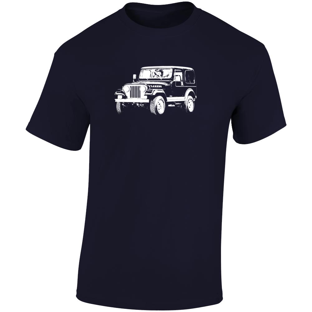 1981 Jeep Cj-7 Laredo Three Quarter Angle View Dark Color T Shirt