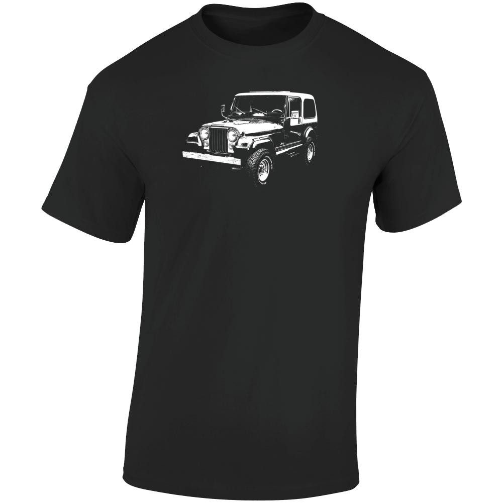 1980 Jeep Cj-7 Laredo Three Quarter Angle View Dark Color T Shirt