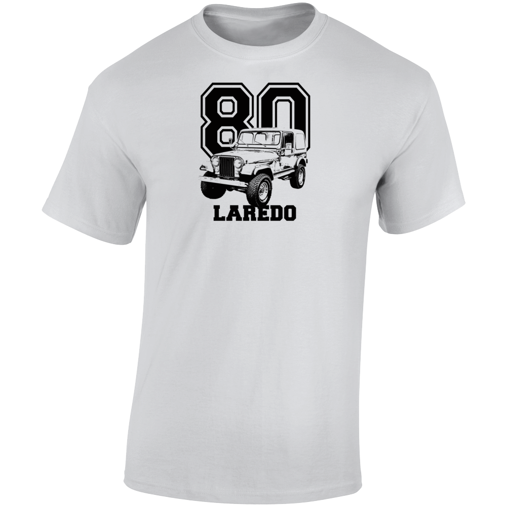 1980 Jeep Cj-7 Laredo Three Quarter Angle View With Year And Model Name Light Color T Shirt