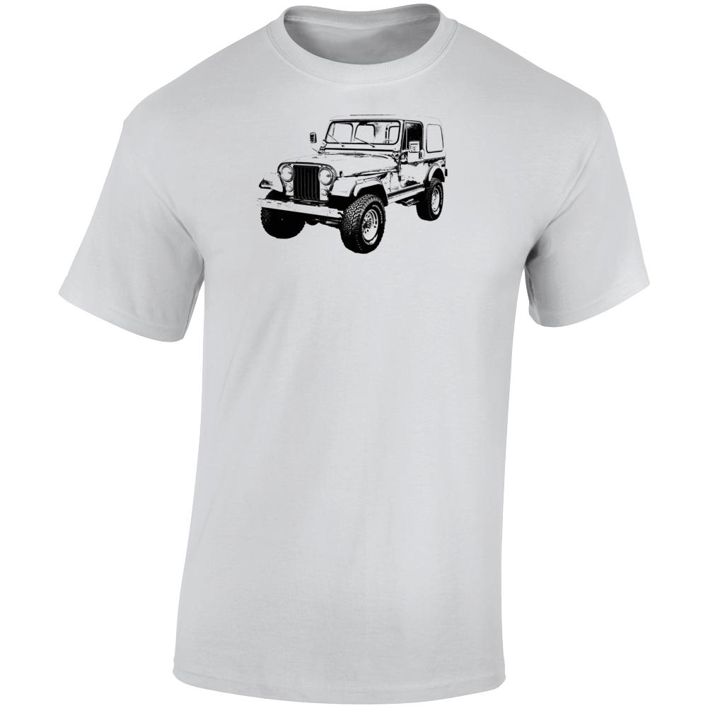 1980 Jeep Cj-7 Laredo Three Quarter Angle View Light Color T Shirt