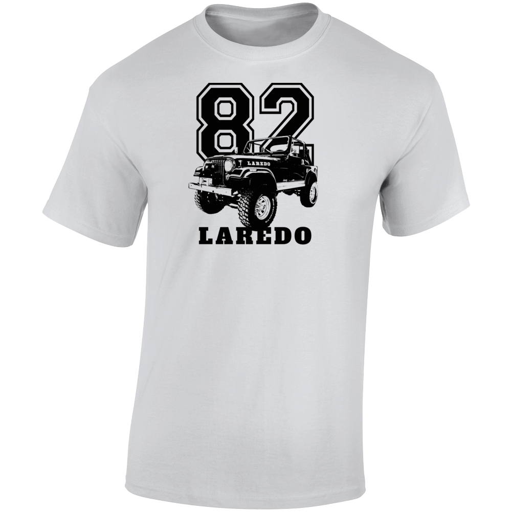 1982 Jeep Cj-7 Laredo Three Quarter Angle View With Year And Model Name Light Color T Shirt