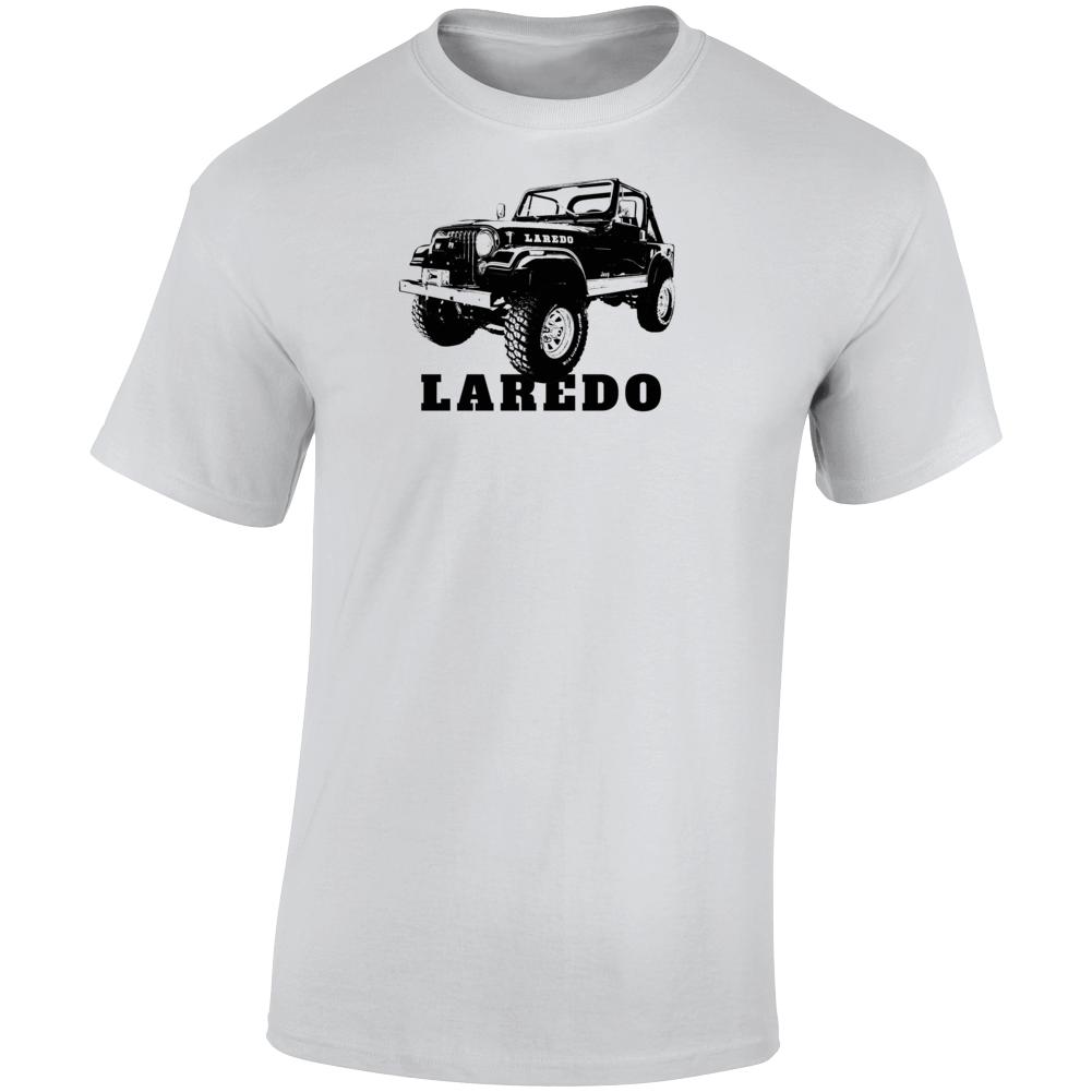 1982 Jeep Cj-7 Laredo Three Quarter Angle View With Model Name Light Color T Shirt
