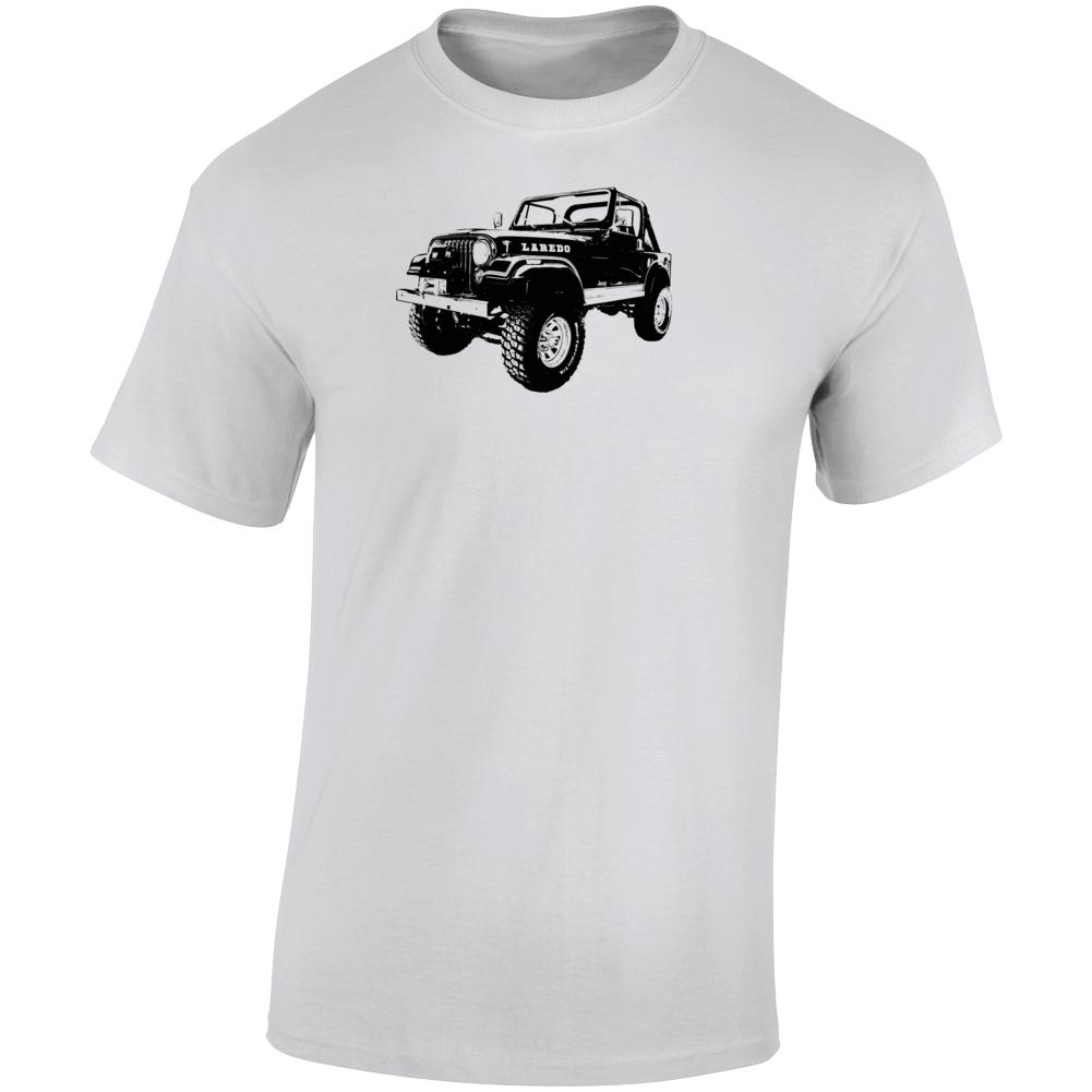 1982 Jeep Cj-7 Laredo Three Quarter Angle View Light Color T Shirt