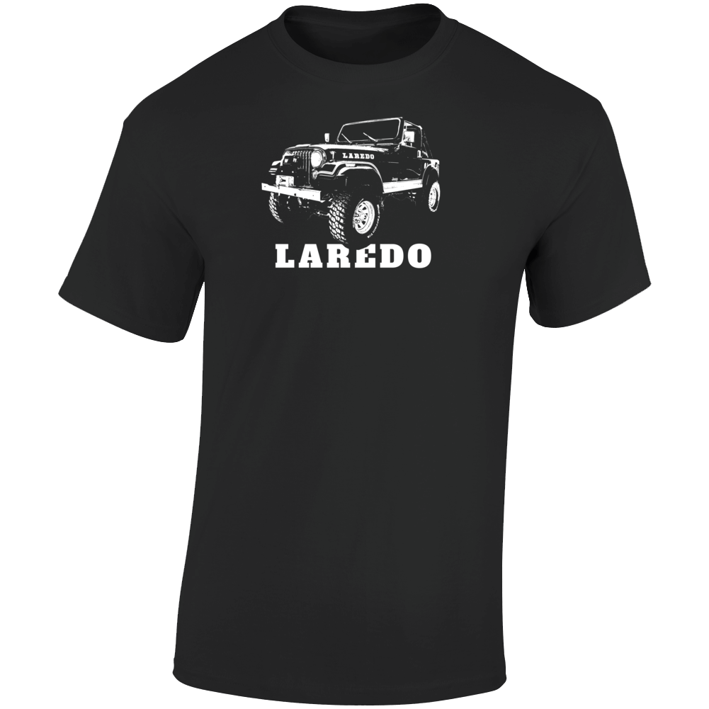 1982 Jeep Cj-7 Laredo Three Quarter Angle View With Model Name Dark Color T Shirt