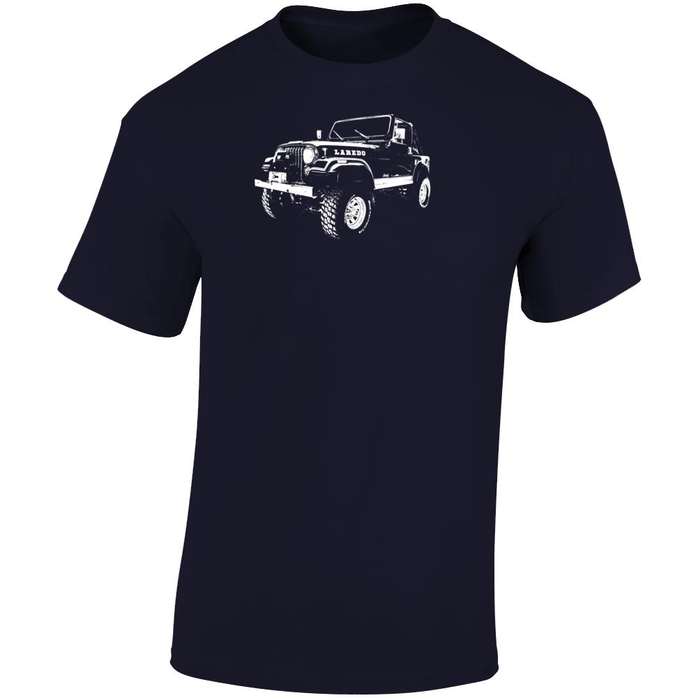 1982 Jeep Cj-7 Laredo Three Quarter Angle View Dark Color T Shirt