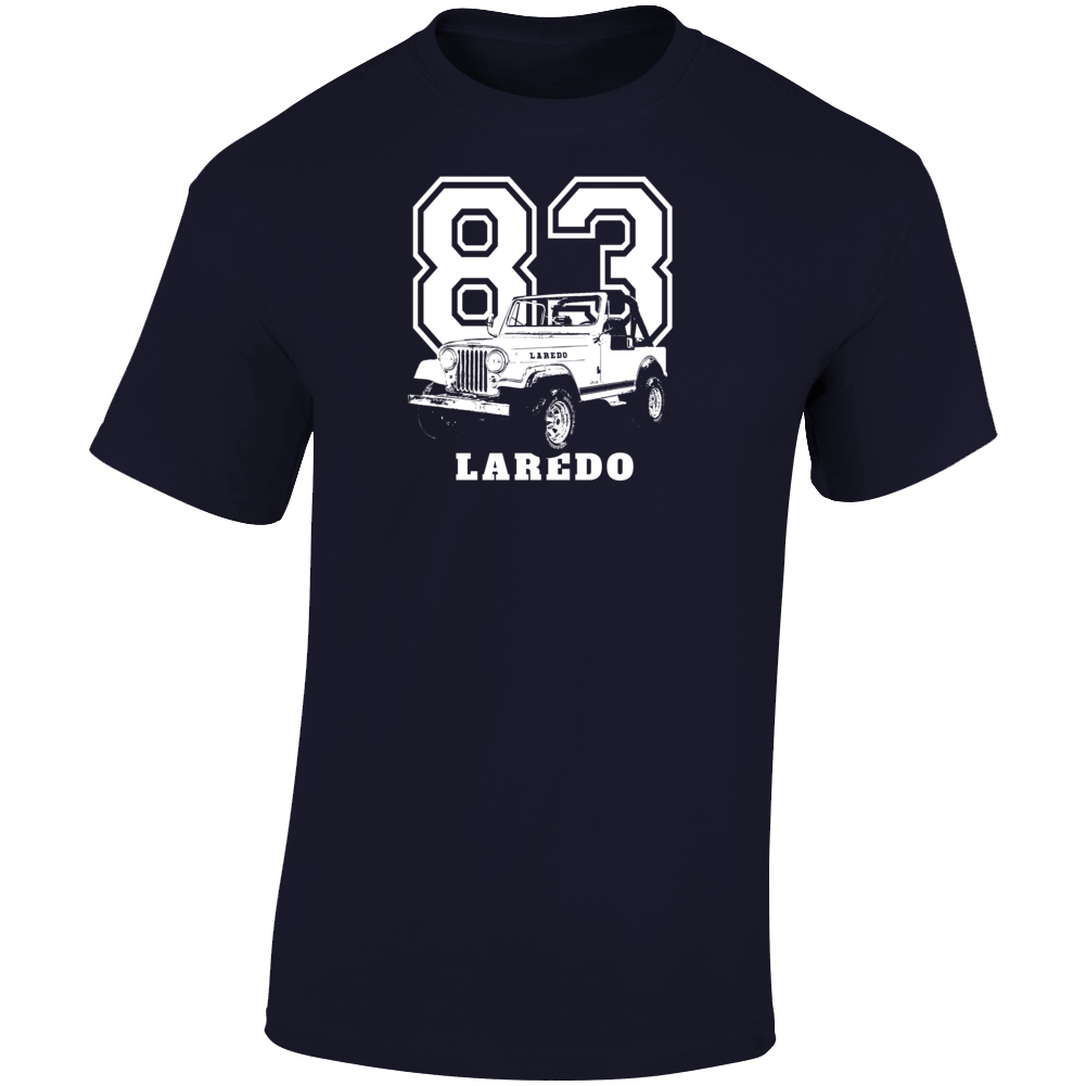 1983 Jeep Cj-7 Laredo Three Quarter Angle View With Year And Model Name Dark Color T Shirt