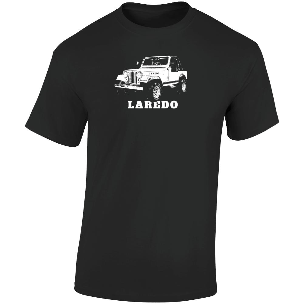 1983 Jeep Cj-7 Laredo Three Quarter Angle View With Model Name Dark Color T Shirt