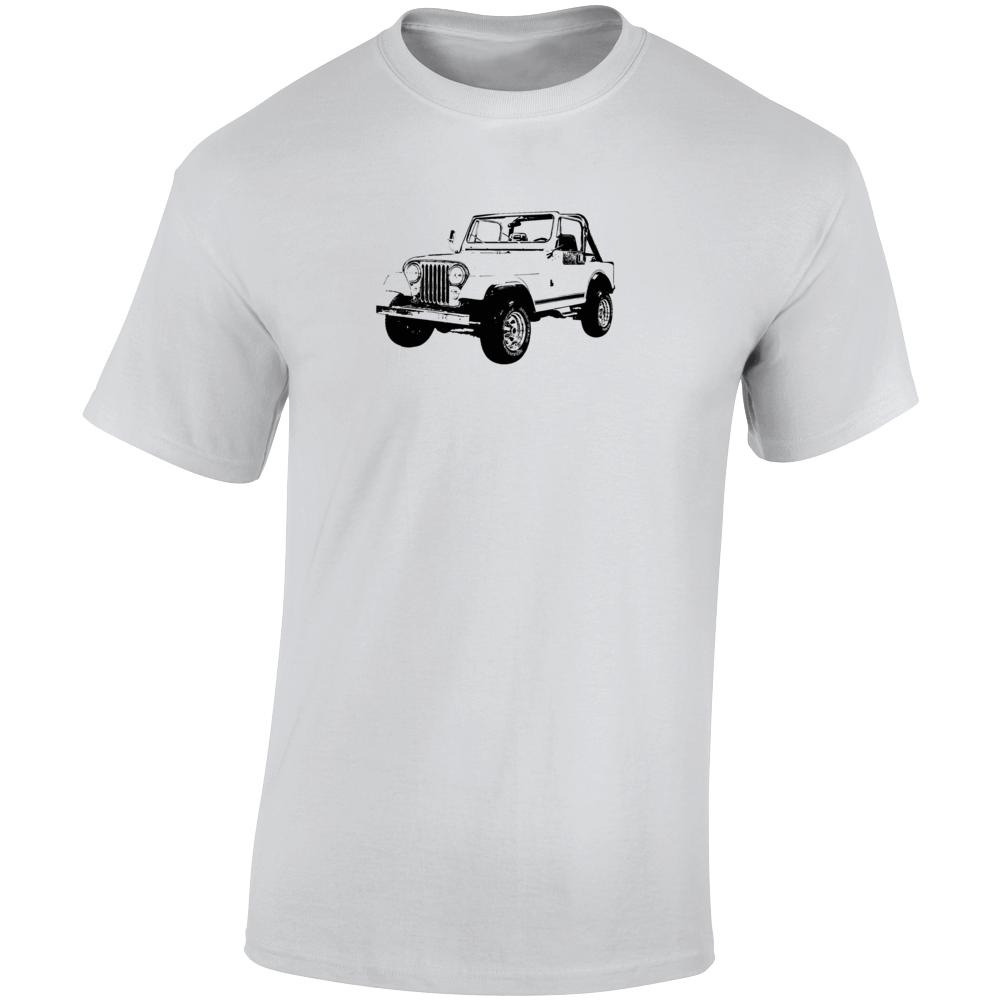 1983 Jeep Cj-7 Laredo Three Quarter Angle View Light Color T Shirt