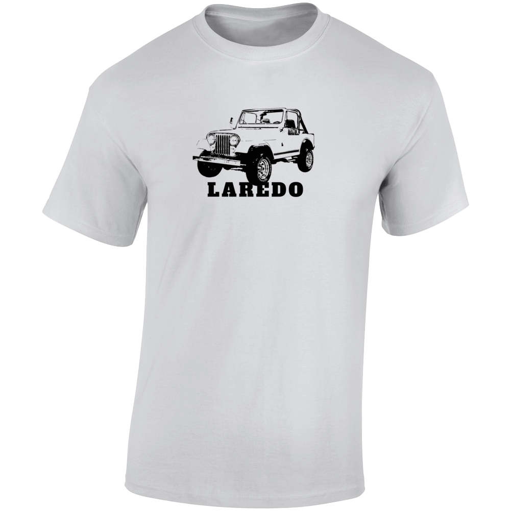 1984 Jeep Cj-7 Laredo Three Quarter Angle View With Model Name Light Color T Shirt