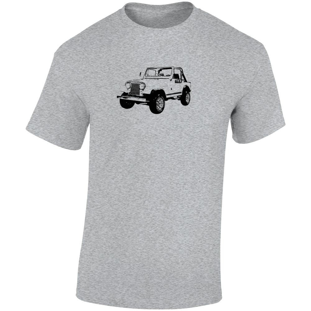 1984 Jeep Cj-7 Laredo Three Quarter Angle View Light Color T Shirt