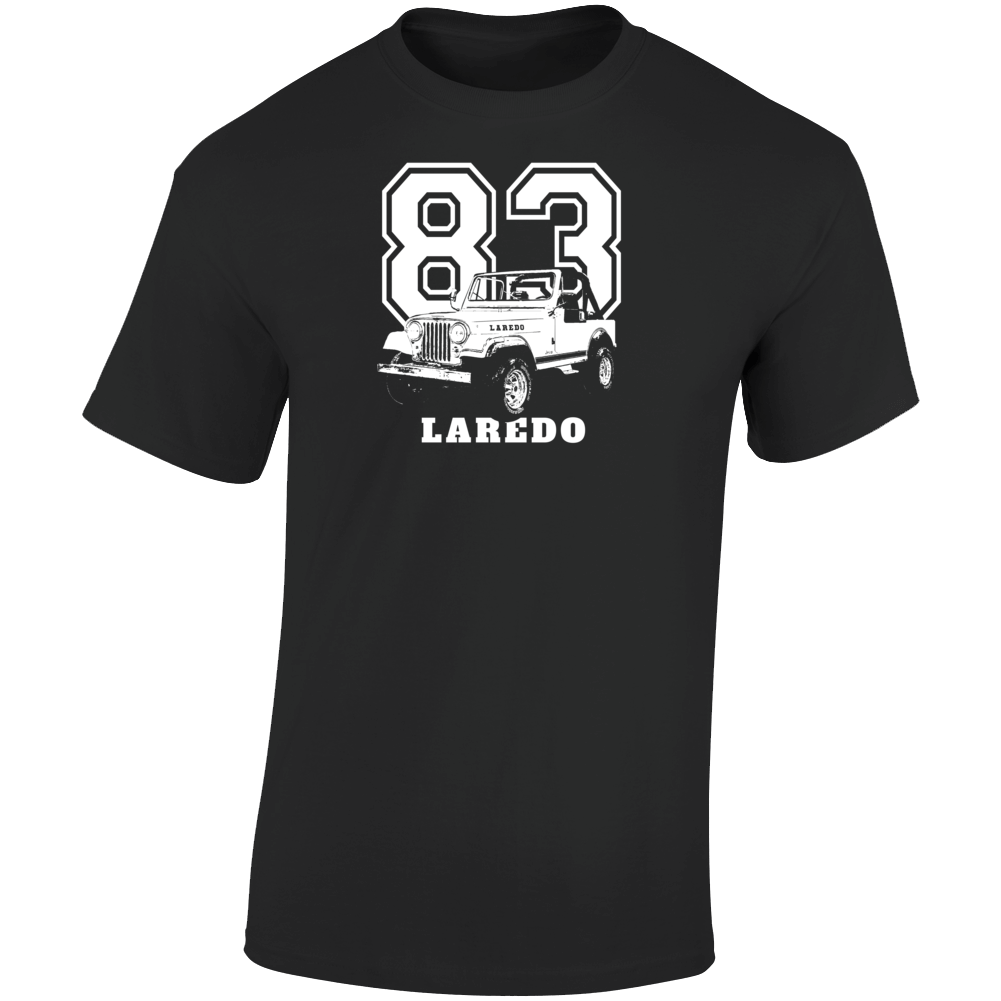 1984 Jeep Cj-7 Laredo Three Quarter Angle View With Year And Model Name Dark Color T Shirt