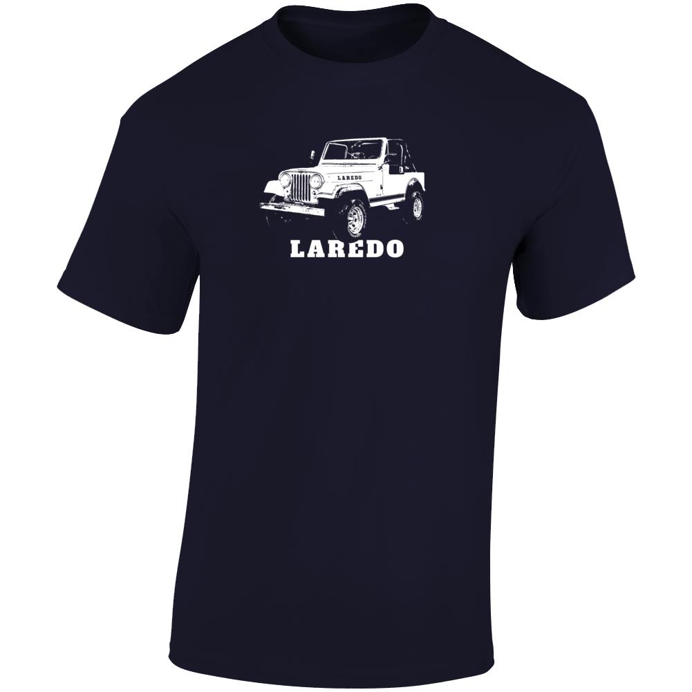 1984 Jeep Cj-7 Laredo Three Quarter Angle View With Model Name Dark Color T Shirt
