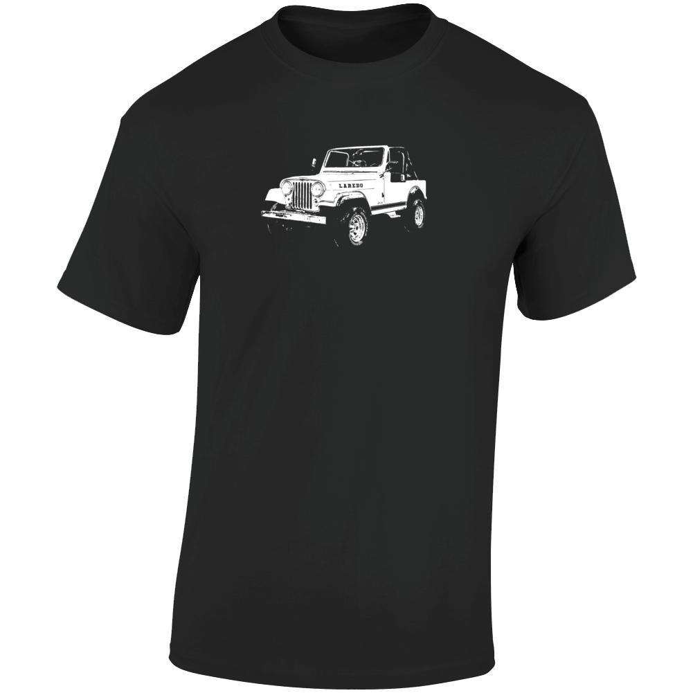 1984 Jeep Cj-7 Laredo Three Quarter Angle View Dark Color T Shirt