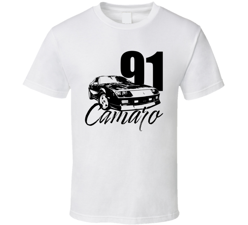 1991 Camaro Three Quarter View With Year And Model Light Color T Shirt