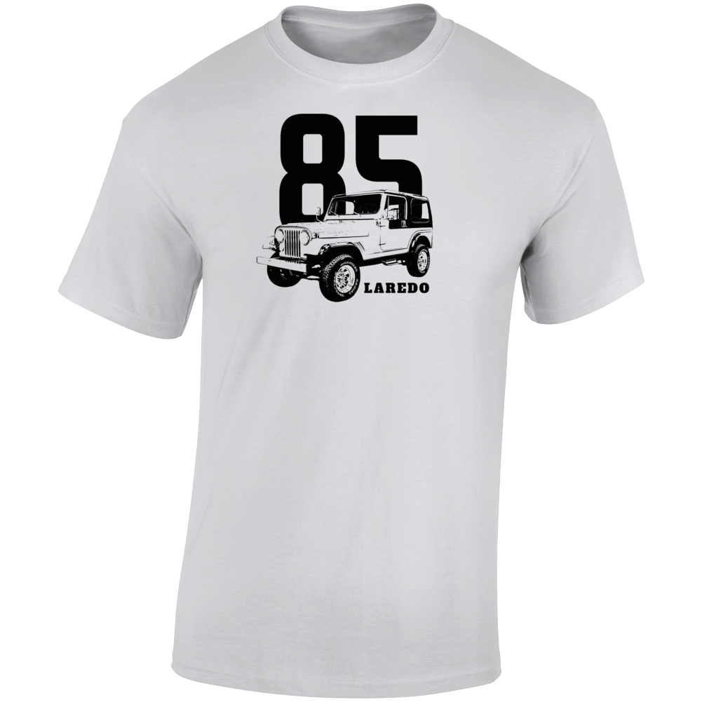 1985 Jeep Cj-7 Laredo Three Quarter Angle View With Year And Model Name Light Color T Shirt