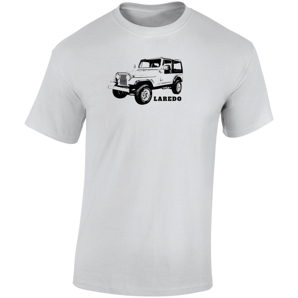 1985 Jeep Cj-7 Laredo Three Quarter Angle View With Model Name Light Color T Shirt