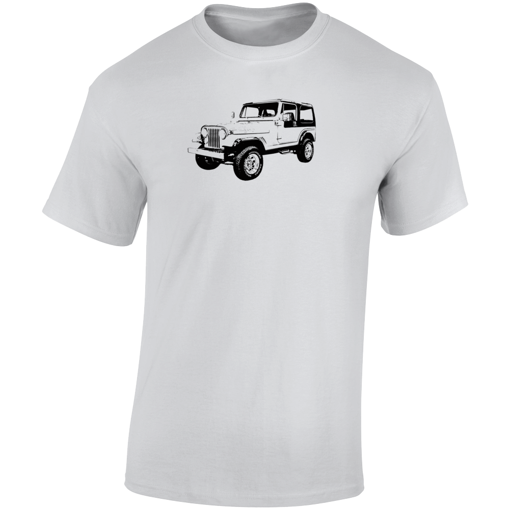 1985 Jeep Cj-7 Laredo Three Quarter Angle View Light Color T Shirt