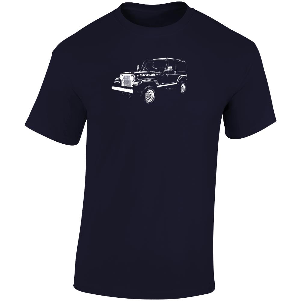 1985 Jeep Cj-7 Laredo Three Quarter Angle View Dark Color T Shirt