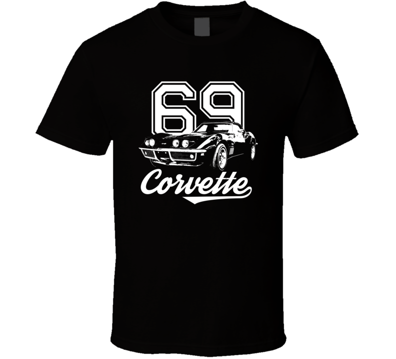 1969 Corvette Three Quarter View With Year And Model Dark Color T Shirt