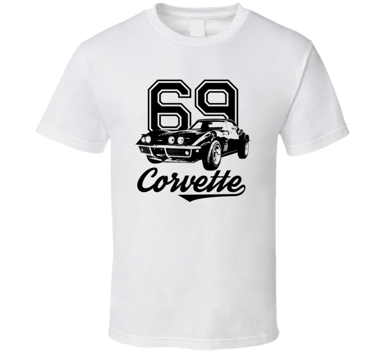 1969 Corvette Three Quarter View With Year And Model Light Color T Shirt