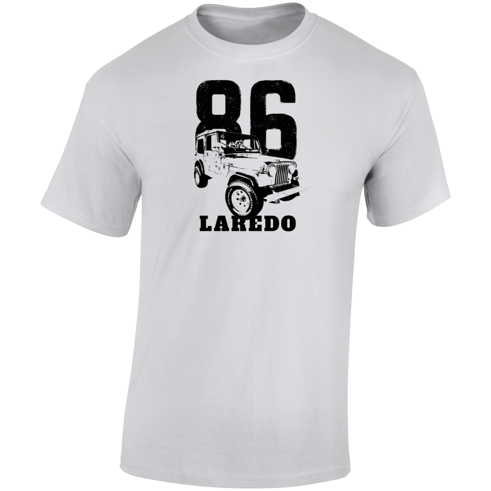 1986 Jeep Cj-7 Laredo Three Quarter Angle View With Year And Model Name Light Color T Shirt