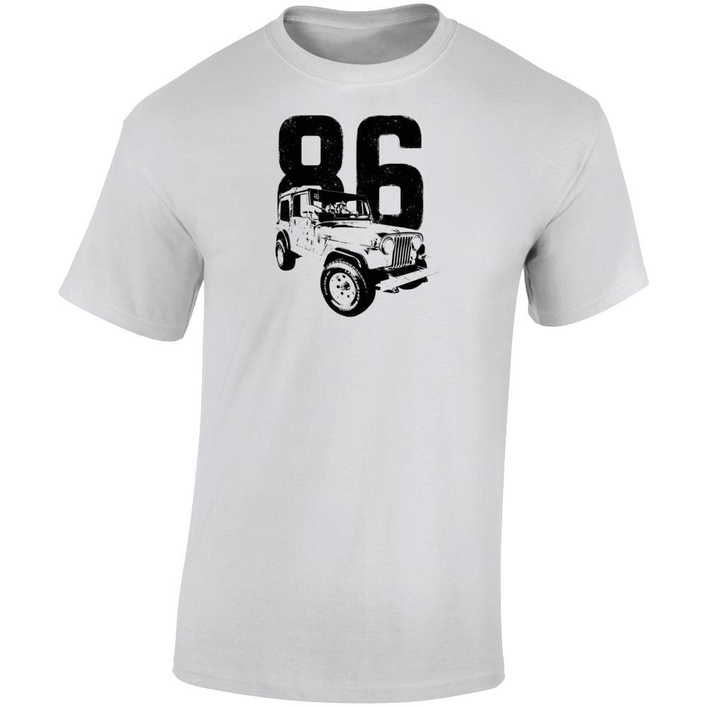 1986 Jeep Cj-7 Laredo Three Quarter Angle View With Year Light Color T Shirt