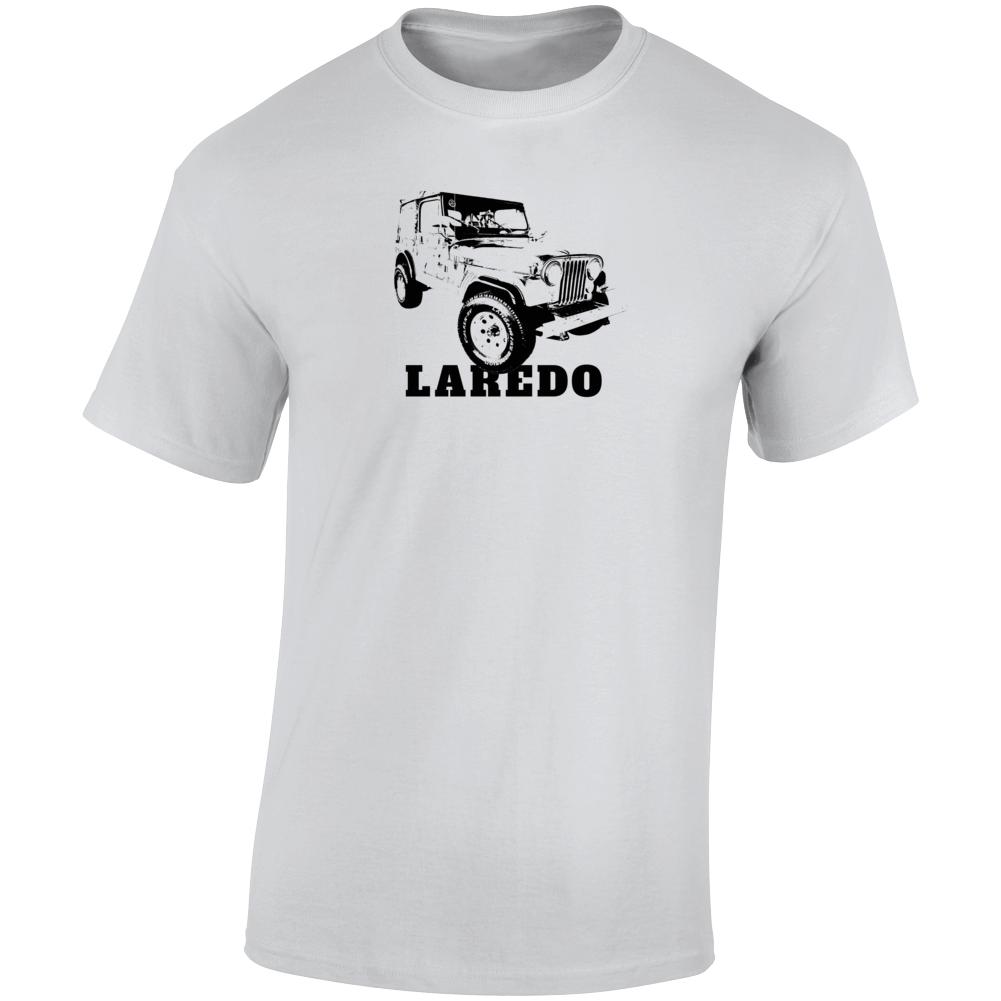 1986 Jeep Cj-7 Laredo Three Quarter Angle View With Model Name Light Color T Shirt