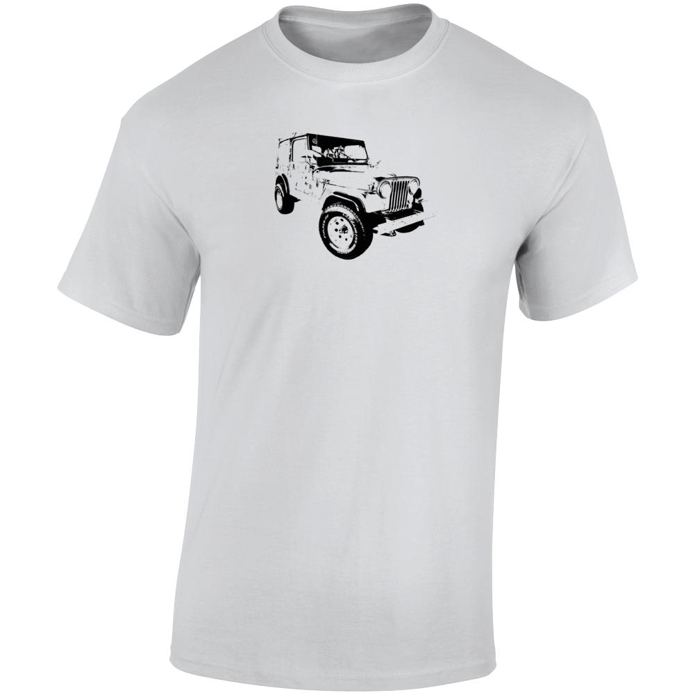 1986 Jeep Cj-7 Laredo Three Quarter Angle View Light Color T Shirt