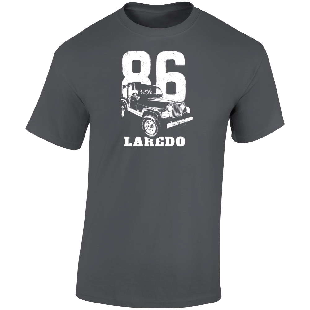 1986 Jeep Cj-7 Laredo Three Quarter Angle View With Year And Model Name Dark Color T Shirt