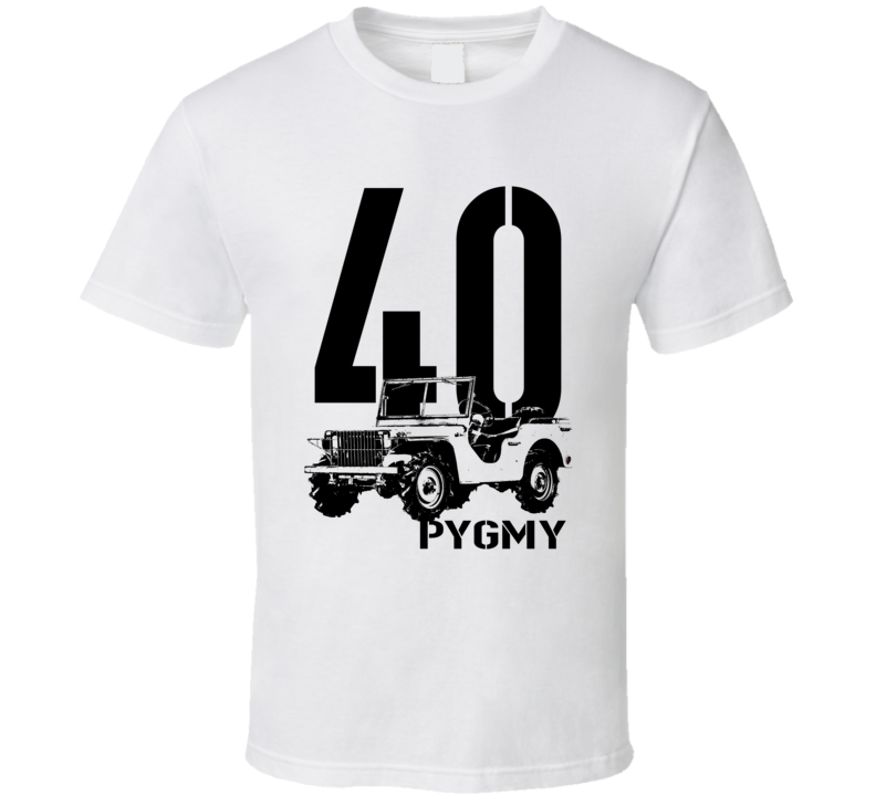 1940 Pygmy Army Jeep Three Quarter Angle View With Year and Model Name Light Color T Shirt