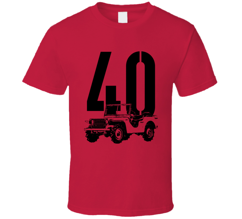1940 Pygmy Army Jeep Three Quarter Angle View With Year Light Color T Shirt