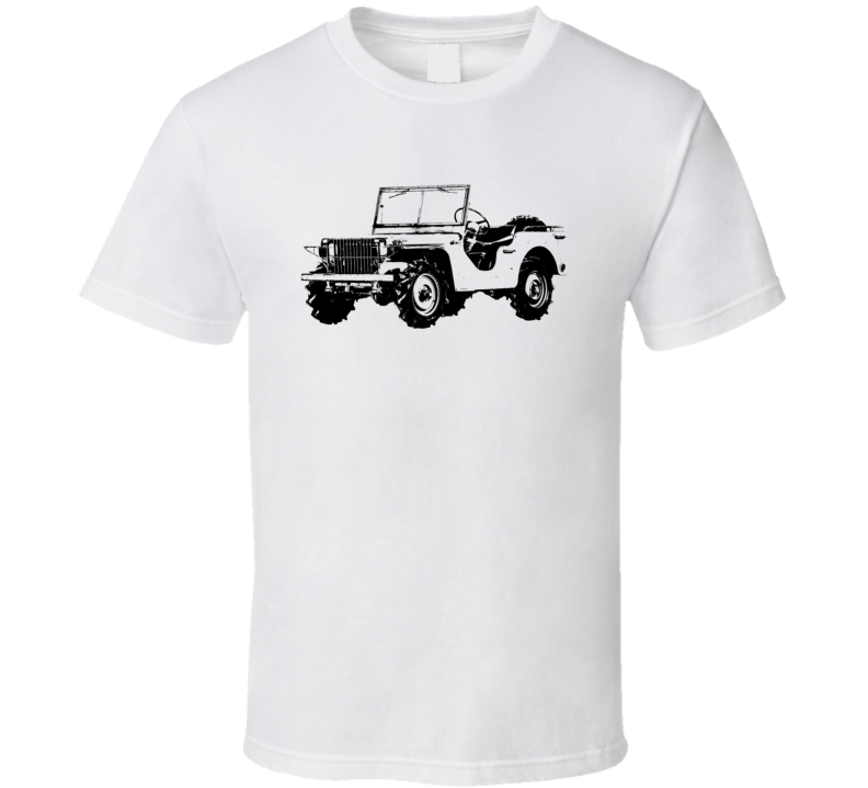 1940 Pygmy Army Jeep Three Quarter Angle View Light Color T Shirt