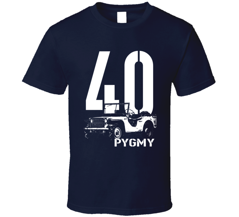 1940 Pygmy Army Jeep Three Quarter Angle View With Year And Model Name Dark Color T Shirt
