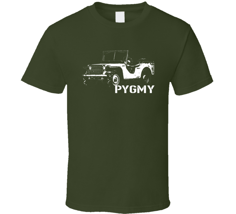 1940 Pygmy Army Jeep Three Quarter Angle View With Model Name Dark Color T Shirt