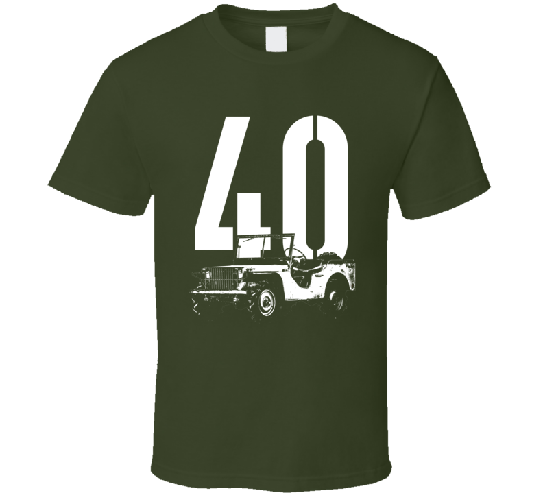1940 Pygmy Army Jeep Three Quarter Angle View With Year Dark Color T Shirt