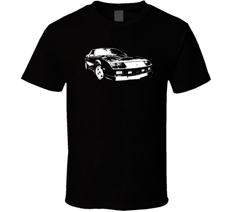 1991 Camaro Three Quarter View With Year Dark Color T Shirt
