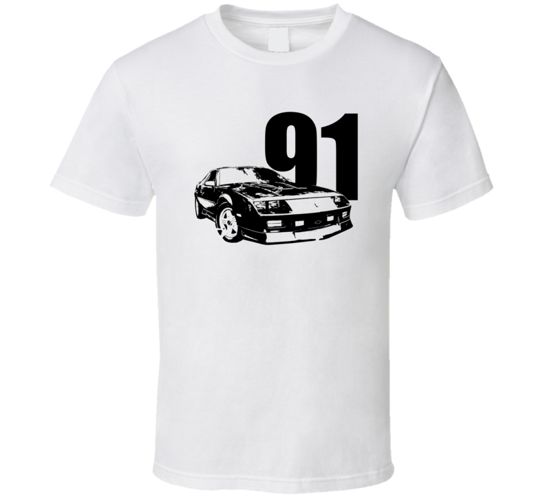 1991 Camaro Three Quarter View With Year Light Color T Shirt
