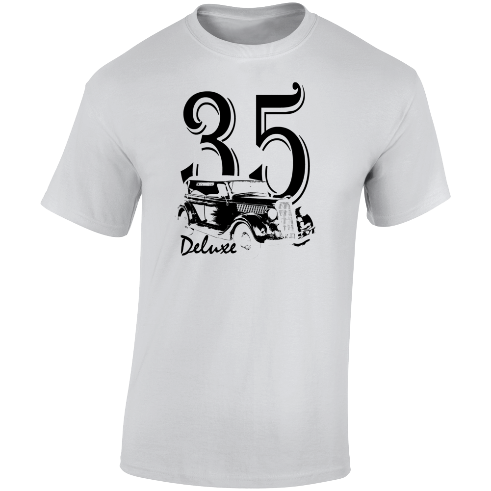 1935 Deluxe Phaeton Three Quarter Angle View With Year And Model Name Light Color T Shirt