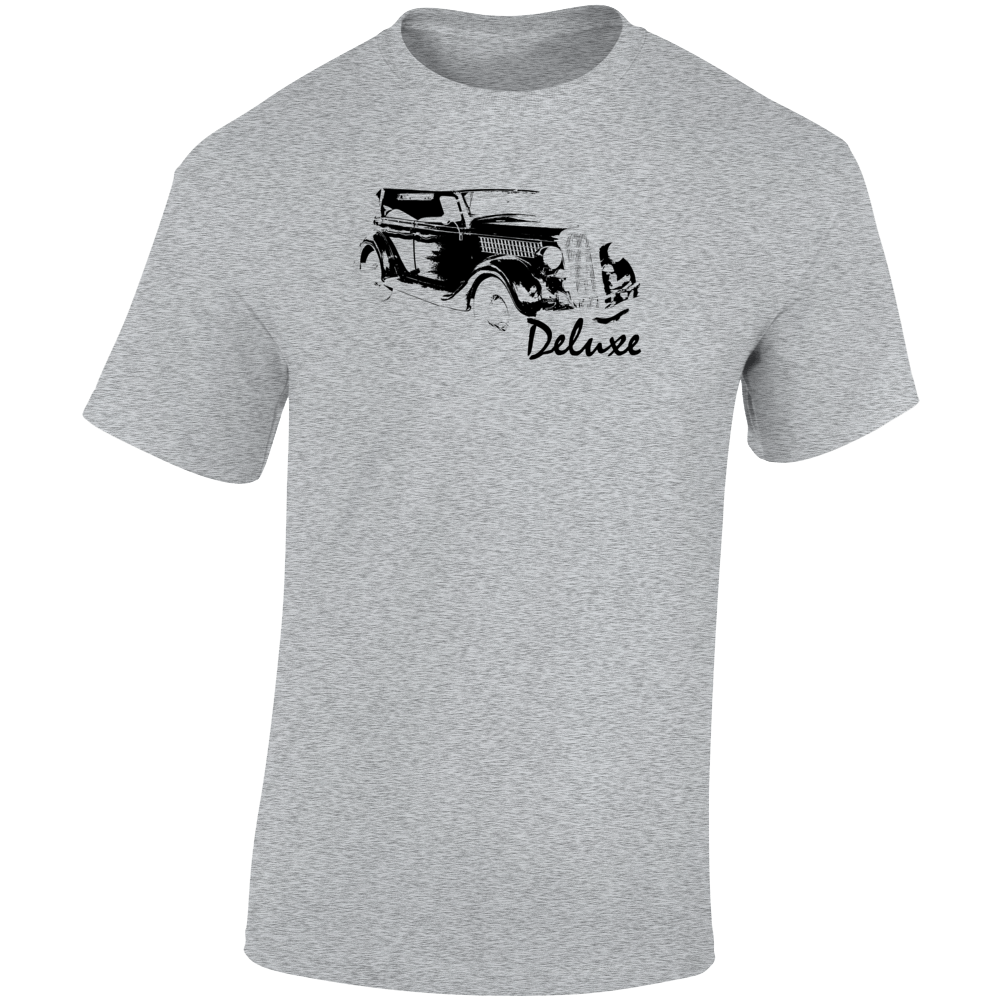 1935 Deluxe Phaeton Three Quarter Angle View With Model Name Light Color T Shirt