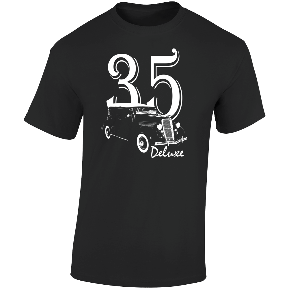 1935 Deluxe Phaeton Three Quarter Angle View With Year And Model Name Dark Color T Shirt
