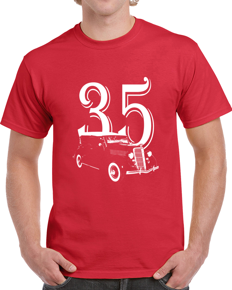 1935 Deluxe Phaeton Three Quarter Angle View With Year Dark Color T Shirt