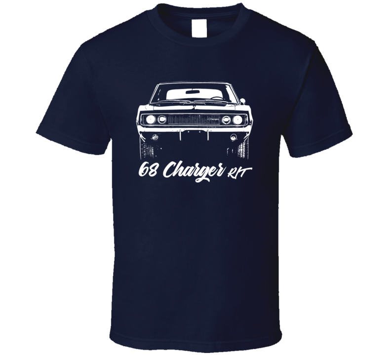 1968 Charger Rt Grill View With Model Year Dark Color T Shirt