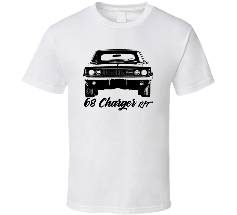 1968 Charger Rt Grill View With Model Year Light Color T Shirt