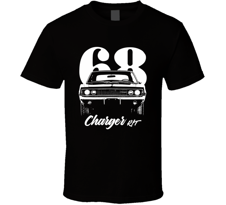 1968 Charger Rt Grill View With Year And Model Dark Color T Shirt