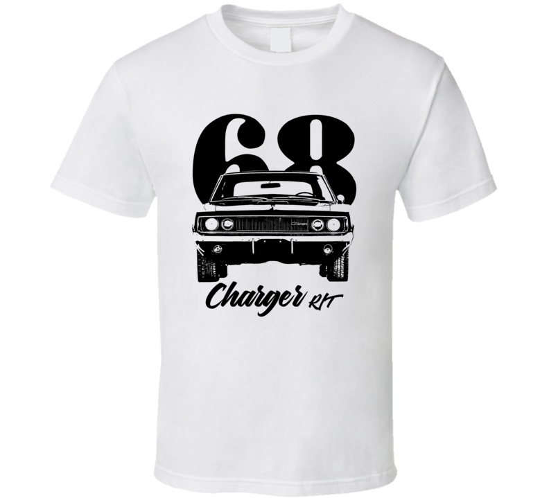 1968 Charger Rt Grill View With Year And Model Light Color T Shirt