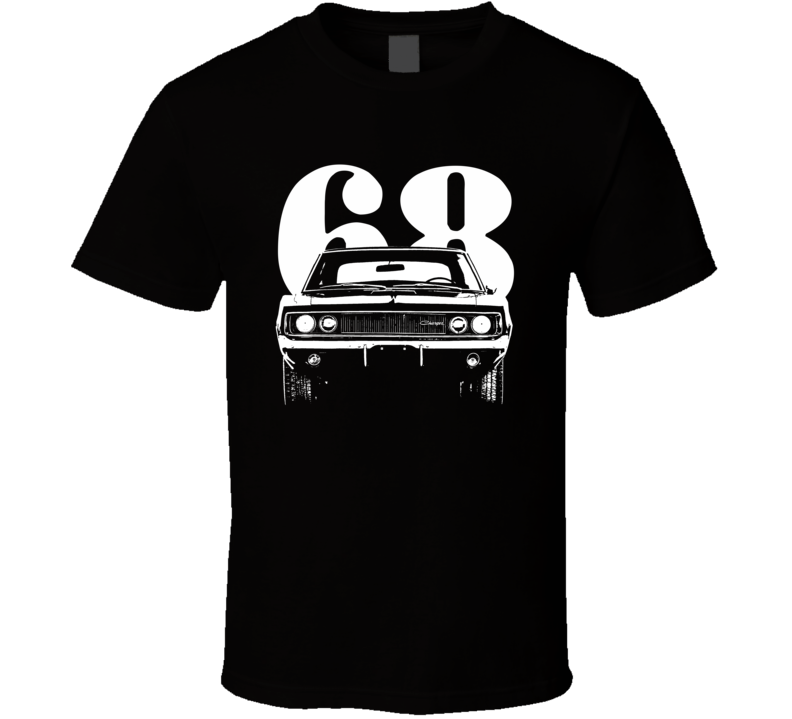 1968 Charger Rt Grill View With Year Dark Color T Shirt