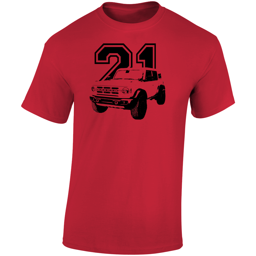 2021 Bronco Three Quarter Angle View With Year Light Color T Shirt