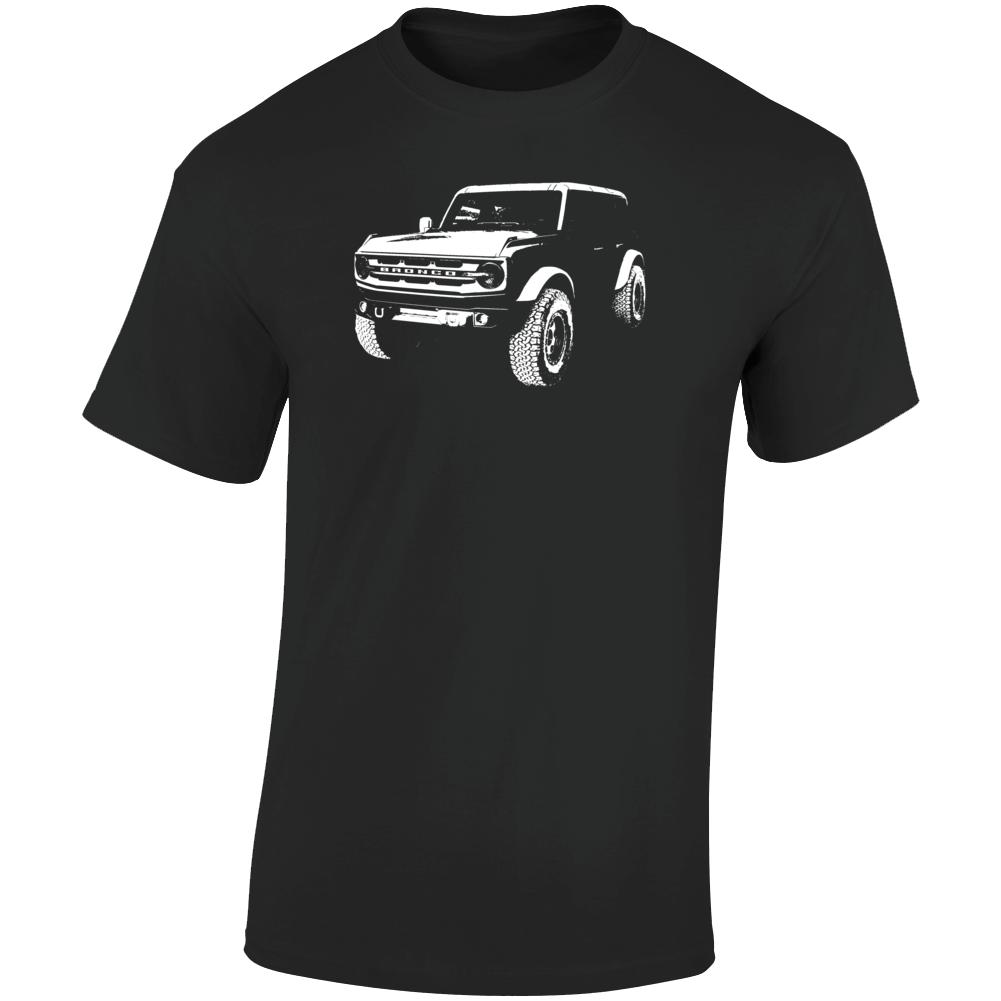 2021 Bronco Three Quarter Angle View Dark Color T Shirt