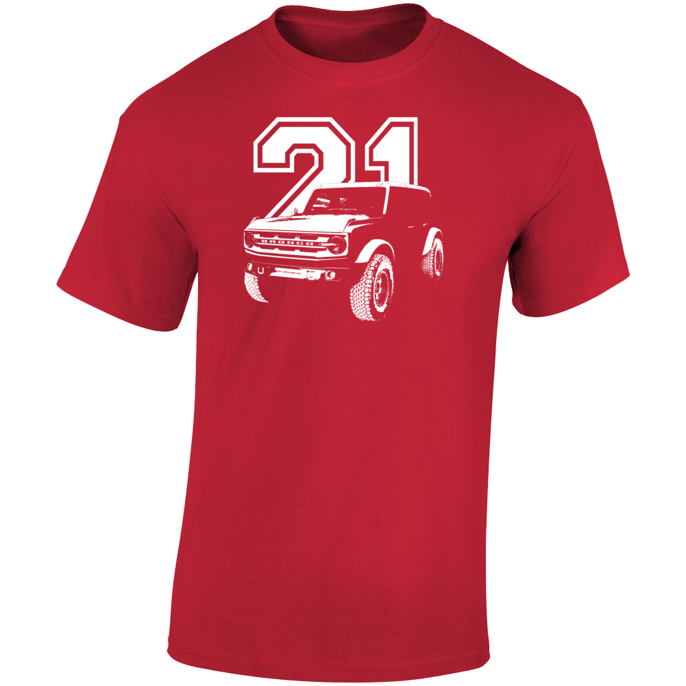 2021 Bronco Three Quarter Angle View With Year Dark Color T Shirt
